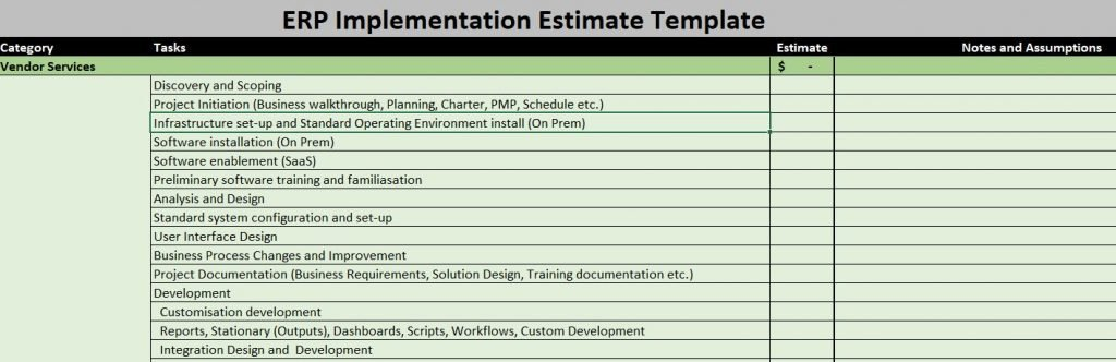 estimate erp project