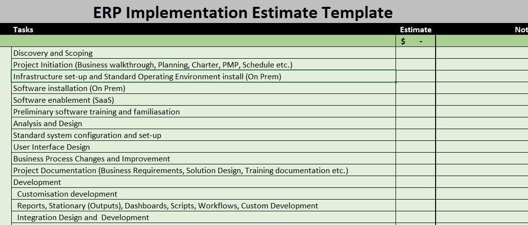 ERP Estimate Template – Get Control You Desperately Need